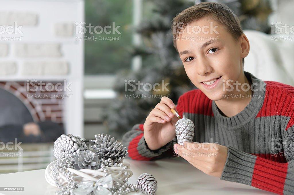 Boy preparing for Christmas stock photo