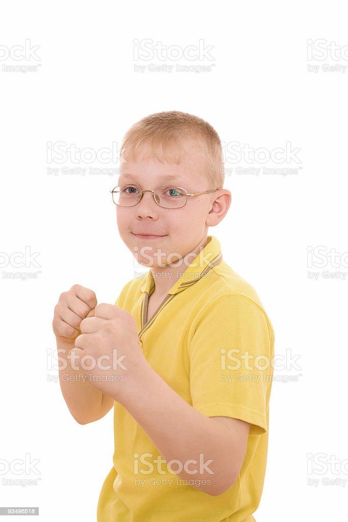 Boy protect himself royalty-free stock photo