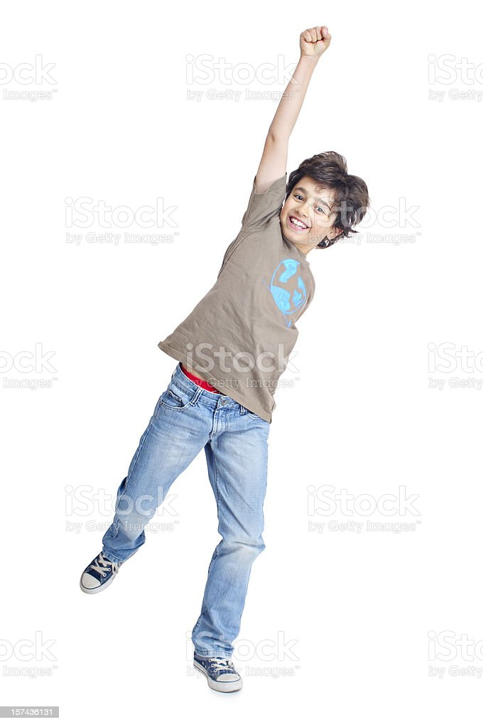 Boy punching the air stock photo