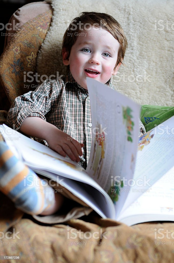 Boy reading 2 royalty-free stock photo
