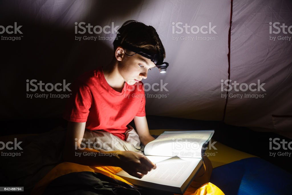 Boy reading a book with torch at night stock photo