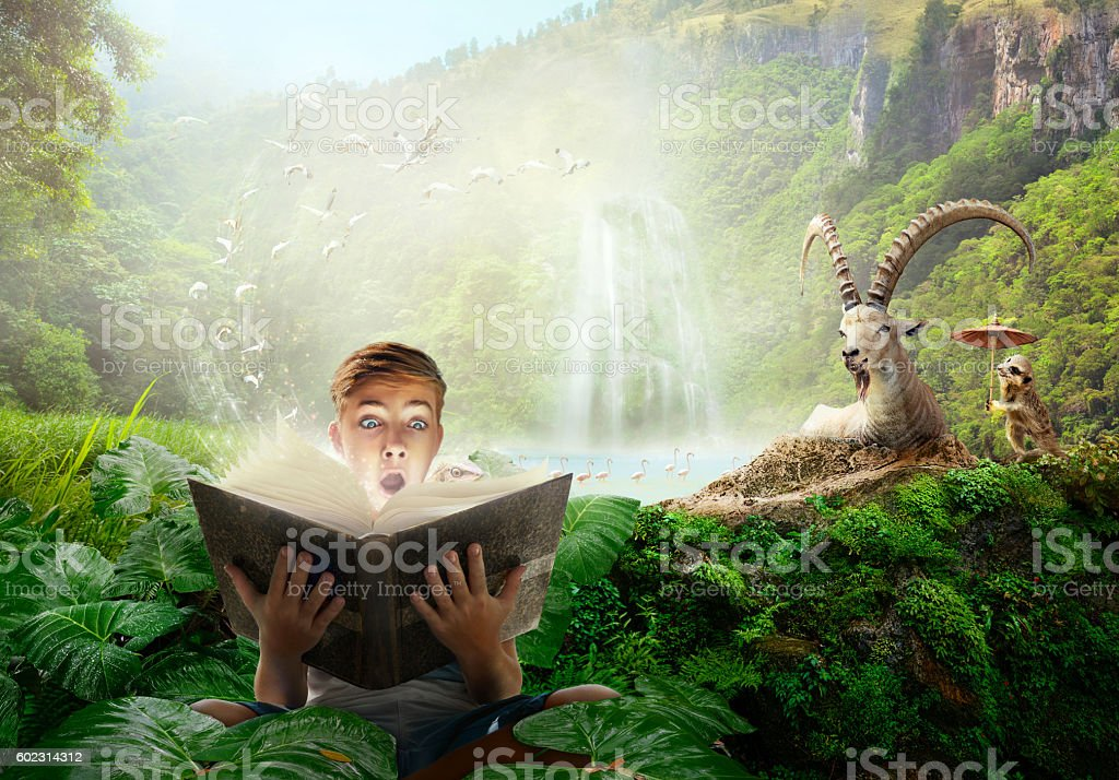 Boy reading a wonderful fairy-tale story. stock photo