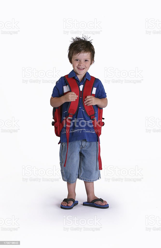 Boy ready for school stock photo