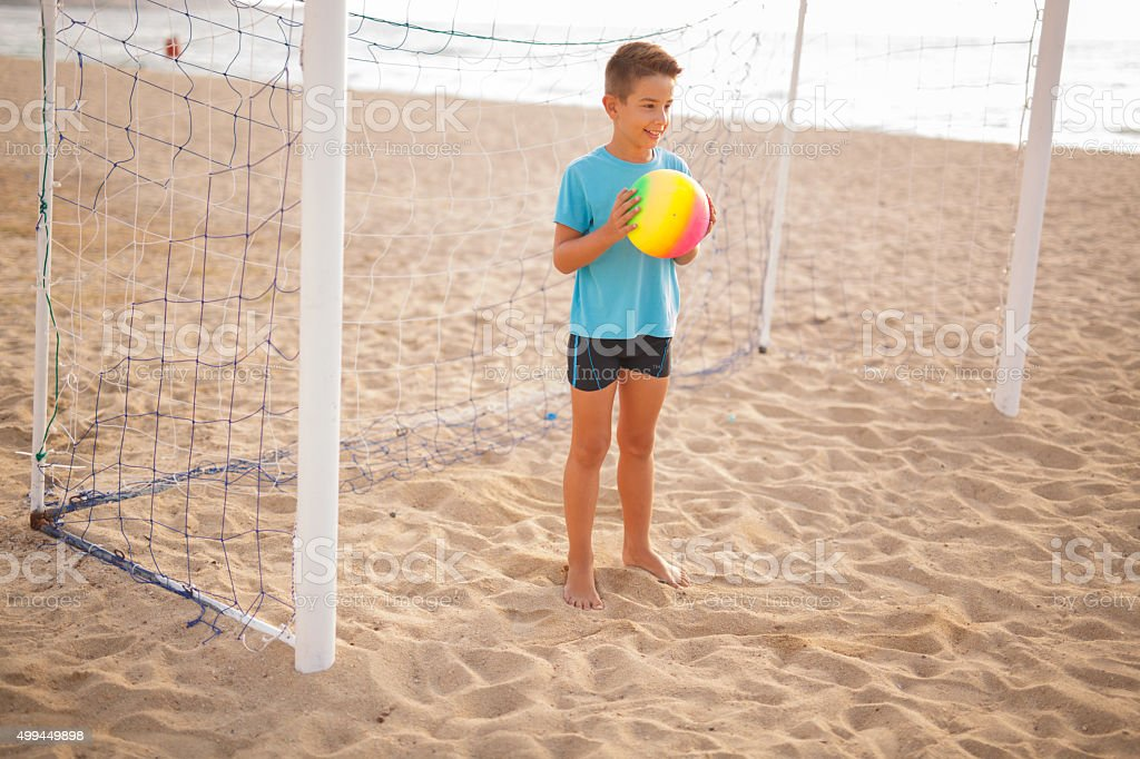 Boy ready to shoot the ball stock photo