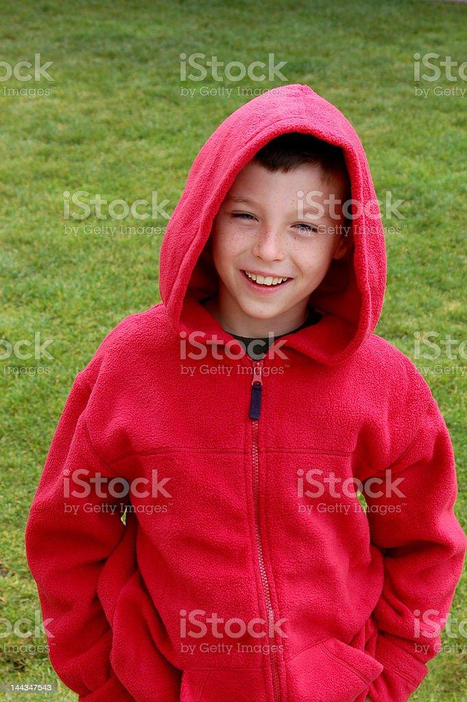 Boy & Red Coat royalty-free stock photo