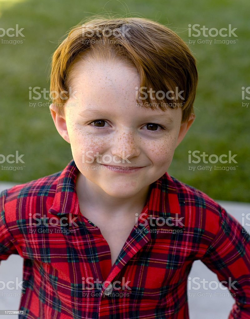 Boy Redhead, Child Freckle Face, Button Down Shirt, Christmas Morning stock photo