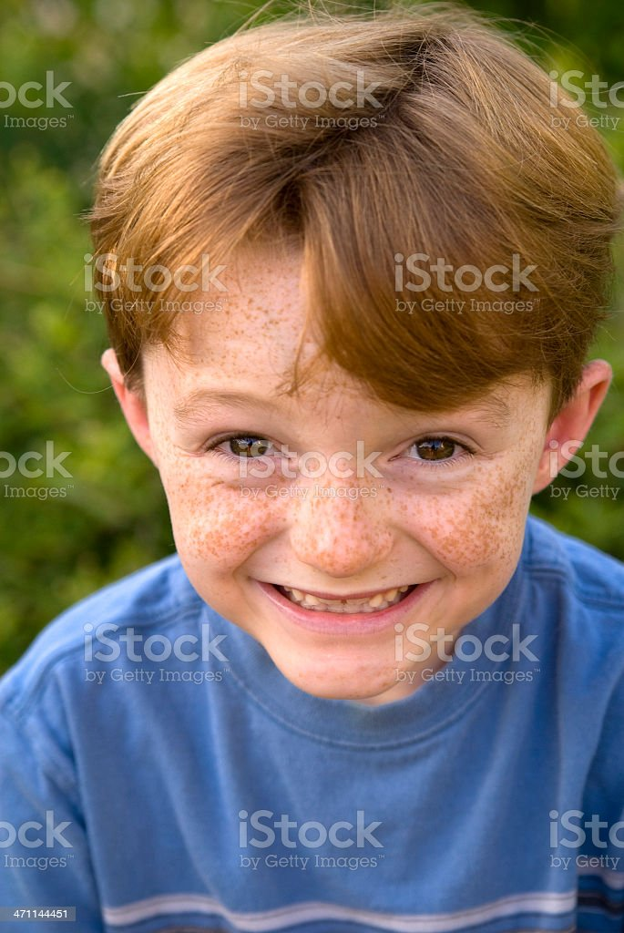 Boy Redhead with Freckles, Smiling royalty-free stock photo
