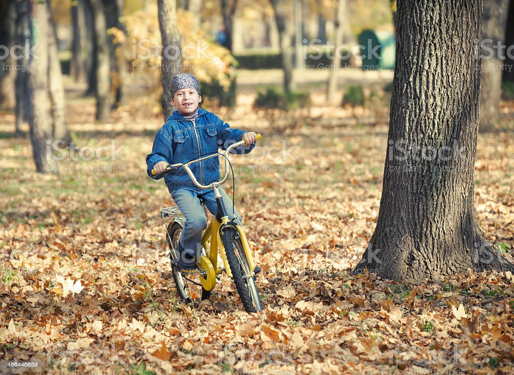 boy rides a bicycle in park stock photo