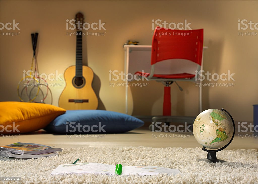 boy room with objects stock photo
