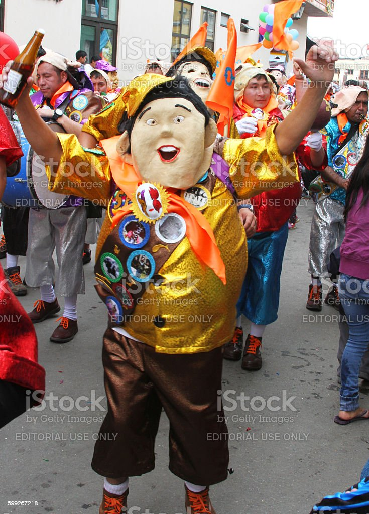Boy Scout Costumed Figure in Carnival Parade stock photo