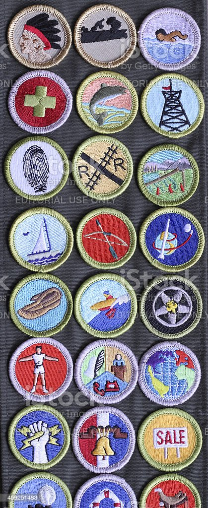 Boy Scout Merit Badges on Sash stock photo