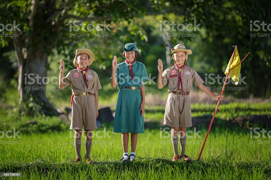 Boy Scout oath stock photo