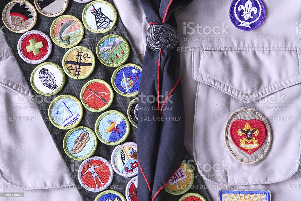 Boy Scout Shirt with Rank Badge and Merit Badges stock photo