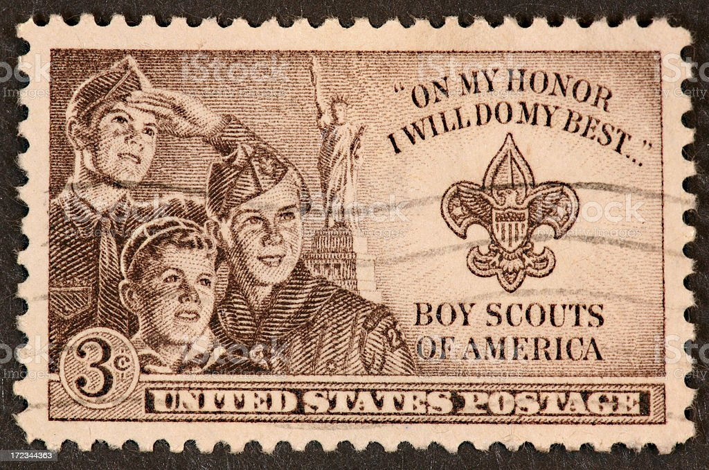 Boy Scouting stamp 1950 stock photo
