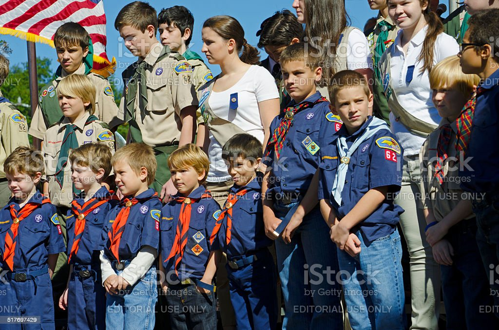 Boy Scouts and Girl Scouts stock photo