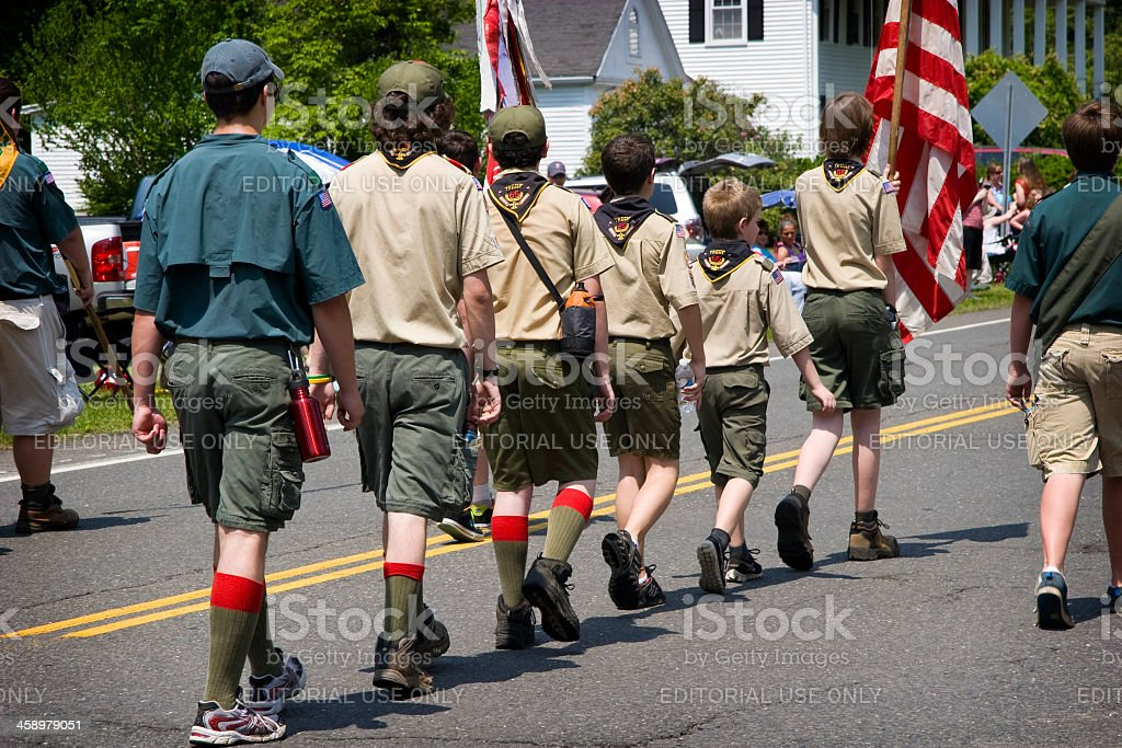 Boy Scouts of America marching in Memorial Day Parade stock photo
