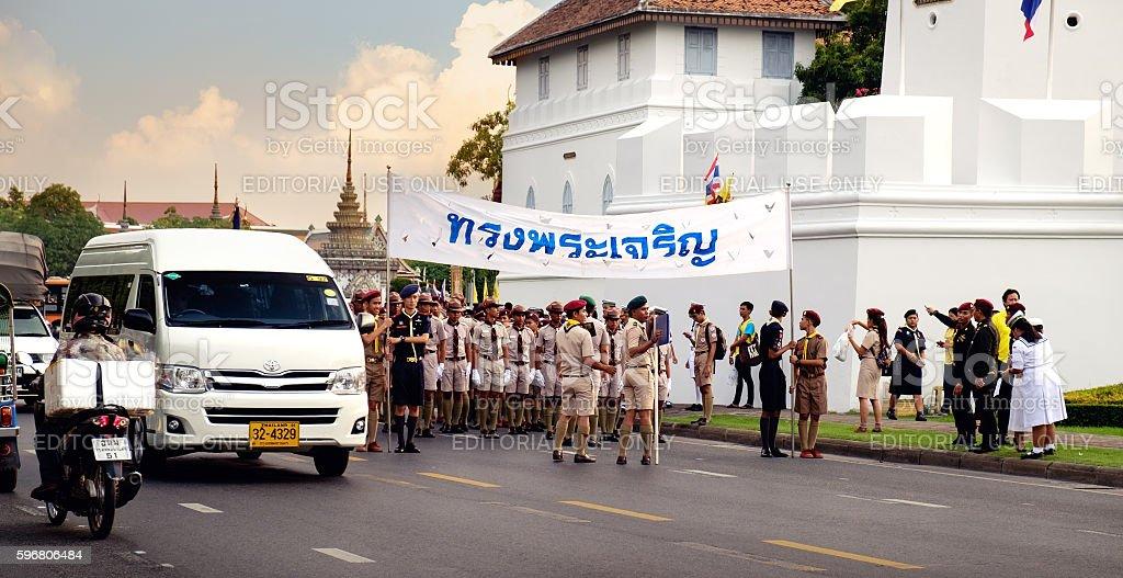 Boy scouts participates in the parade, Bangkok, Thailand. stock photo