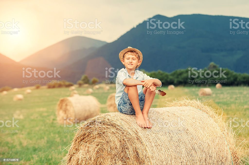 Boy sits on the haystack top stock photo