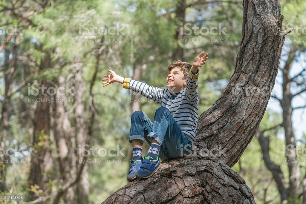 boy sitting on a tree trunk with open arms stock photo