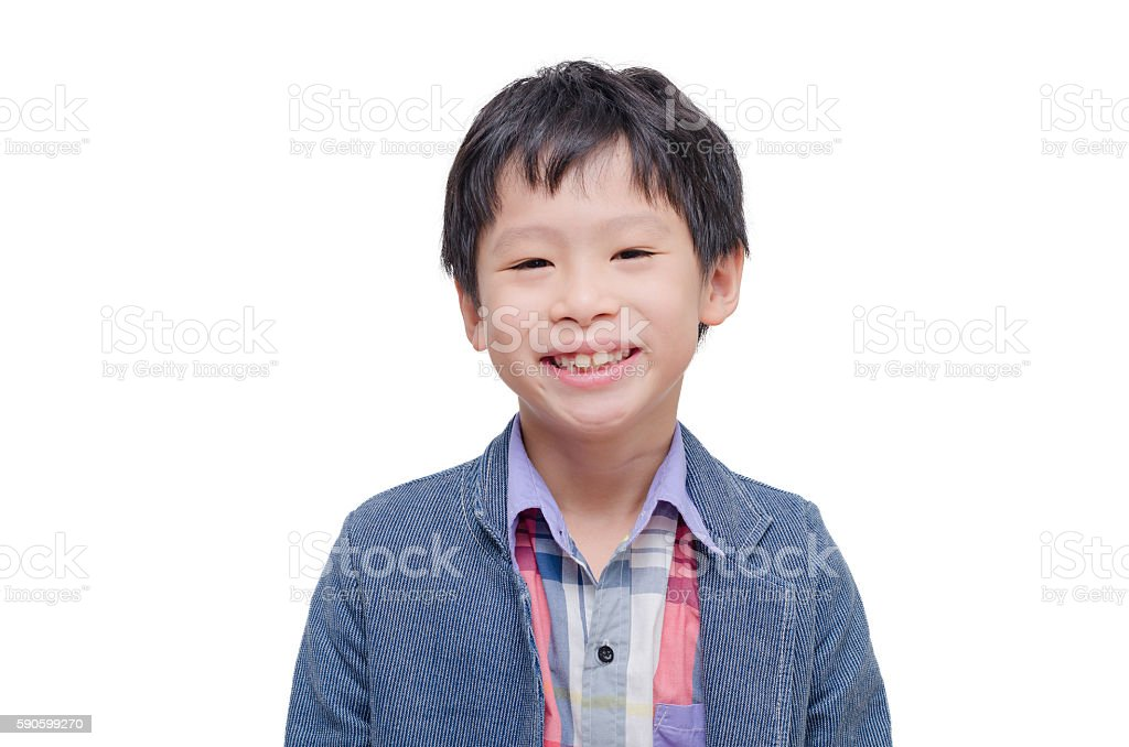 boy smiling over white background stock photo