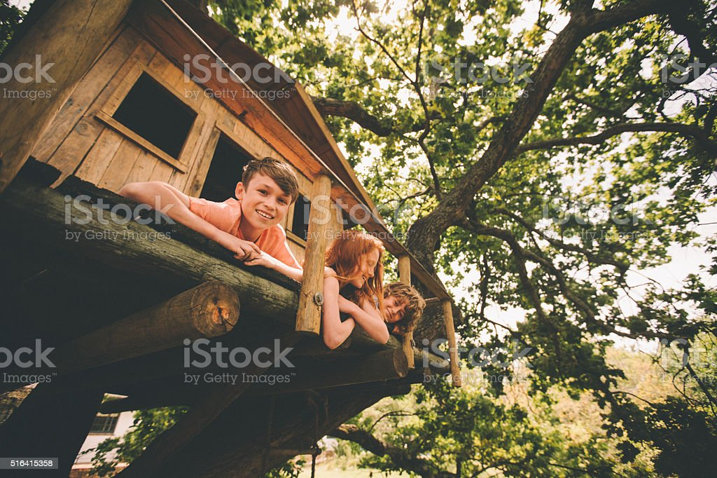 Boy smiling while playing with friends in a wooden treehouse stock photo
