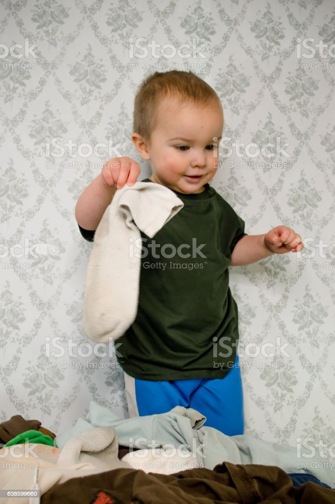 Boy sock stock photo