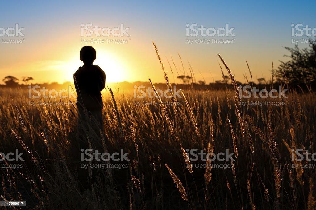 Boy standing in grassy field stock photo