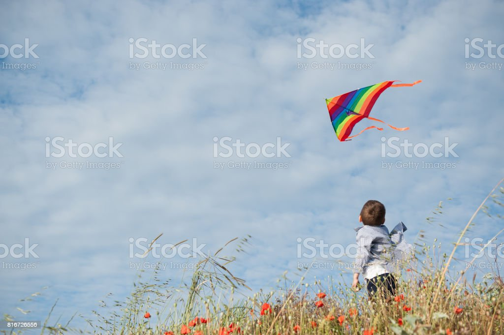 Boy standing in the field holds a flying kite flying in the air against the beautiful sky stock photo