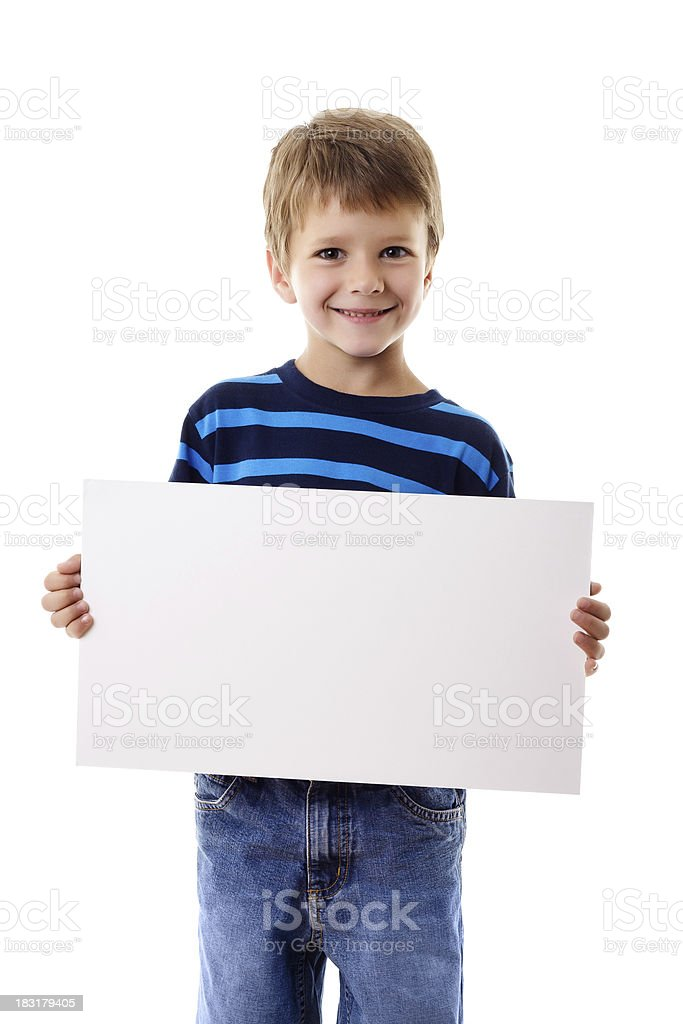 Boy standing with empty blank stock photo