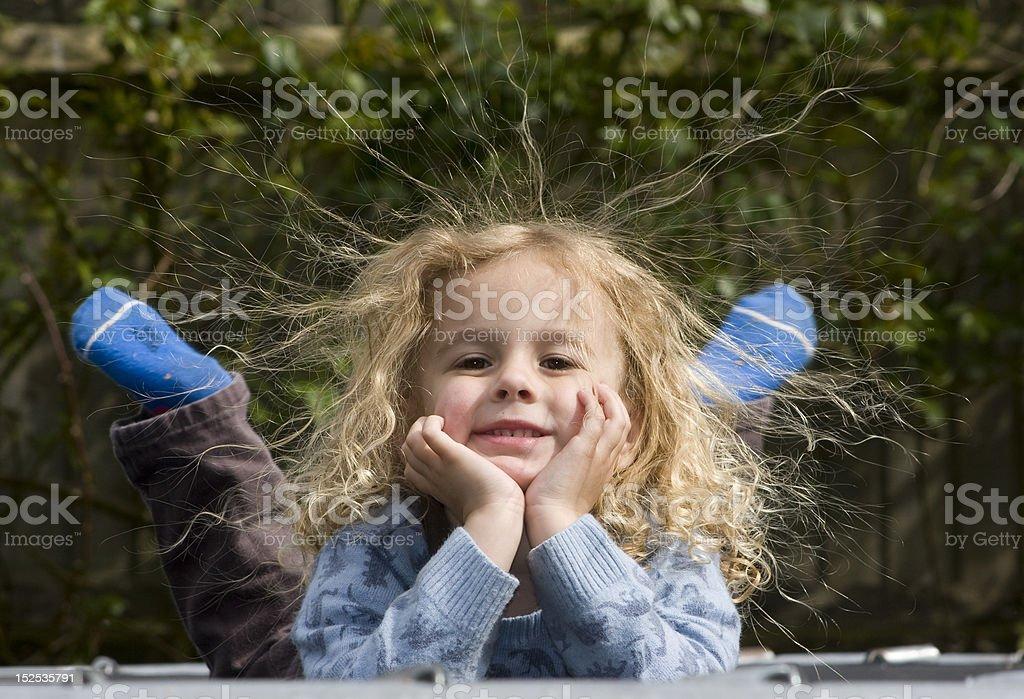 Boy Static Hair stock photo