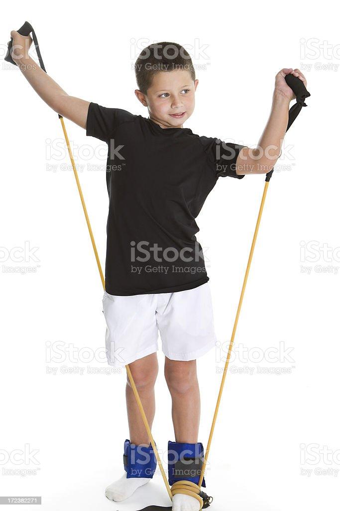Boy stretching stock photo