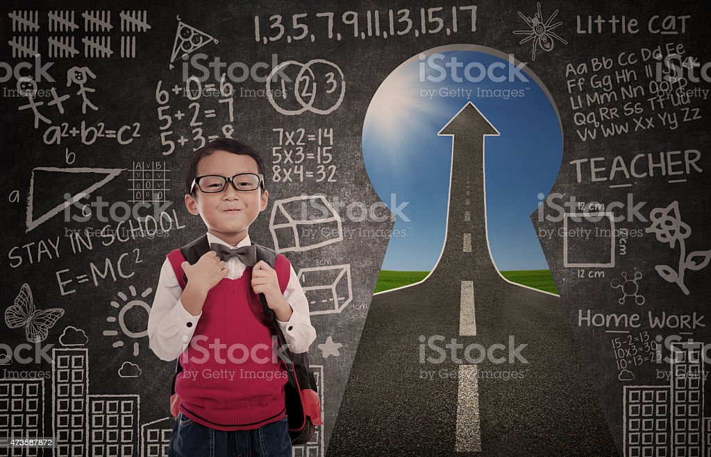 Boy student and road to success stock photo