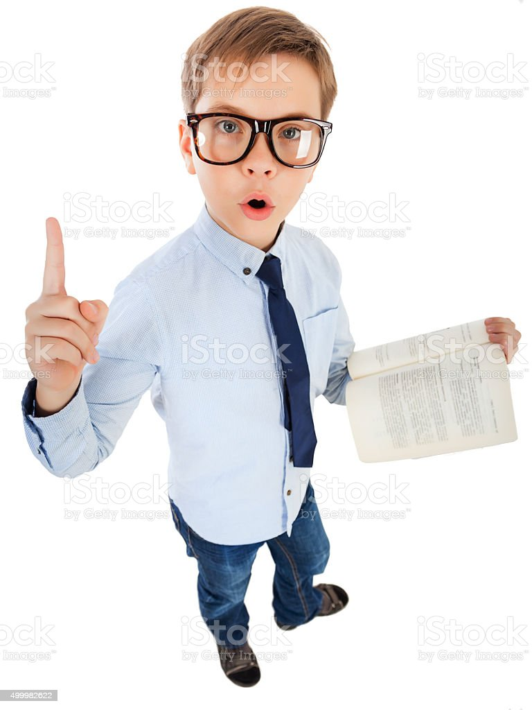 Boy Surprised With Book stock photo