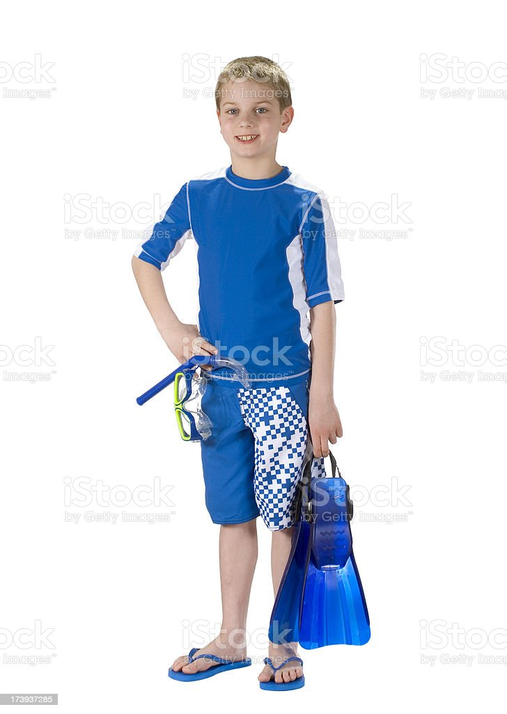 Boy Swimmer With Mask Snorkel & Fins Isolated / Clipping Path royalty-free stock photo