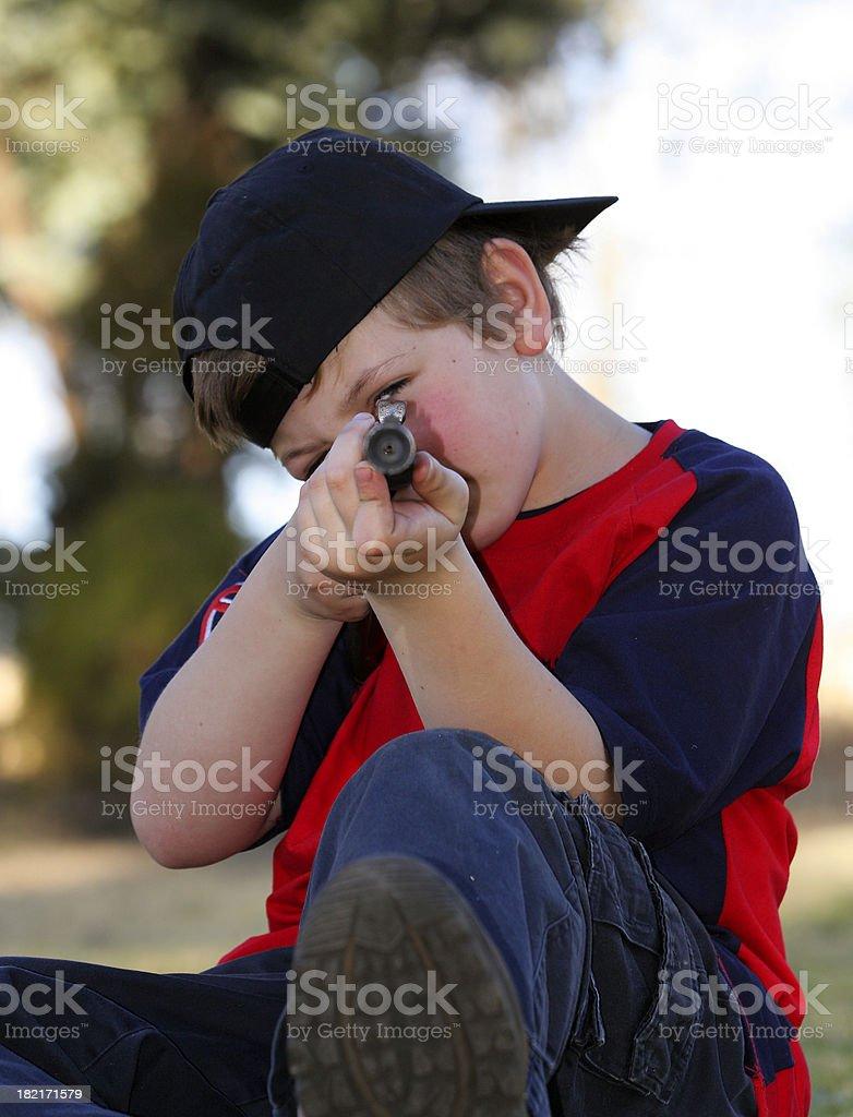 Boy Taking Aim royalty-free stock photo