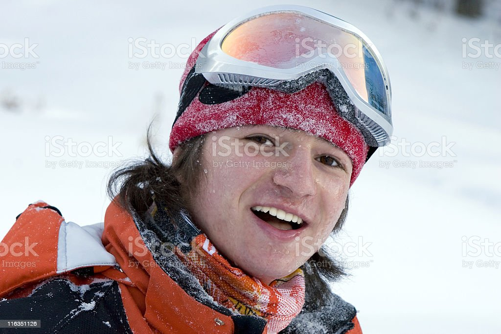 Boy teens, health lifestyle image of young snowboarder after incidence stock photo