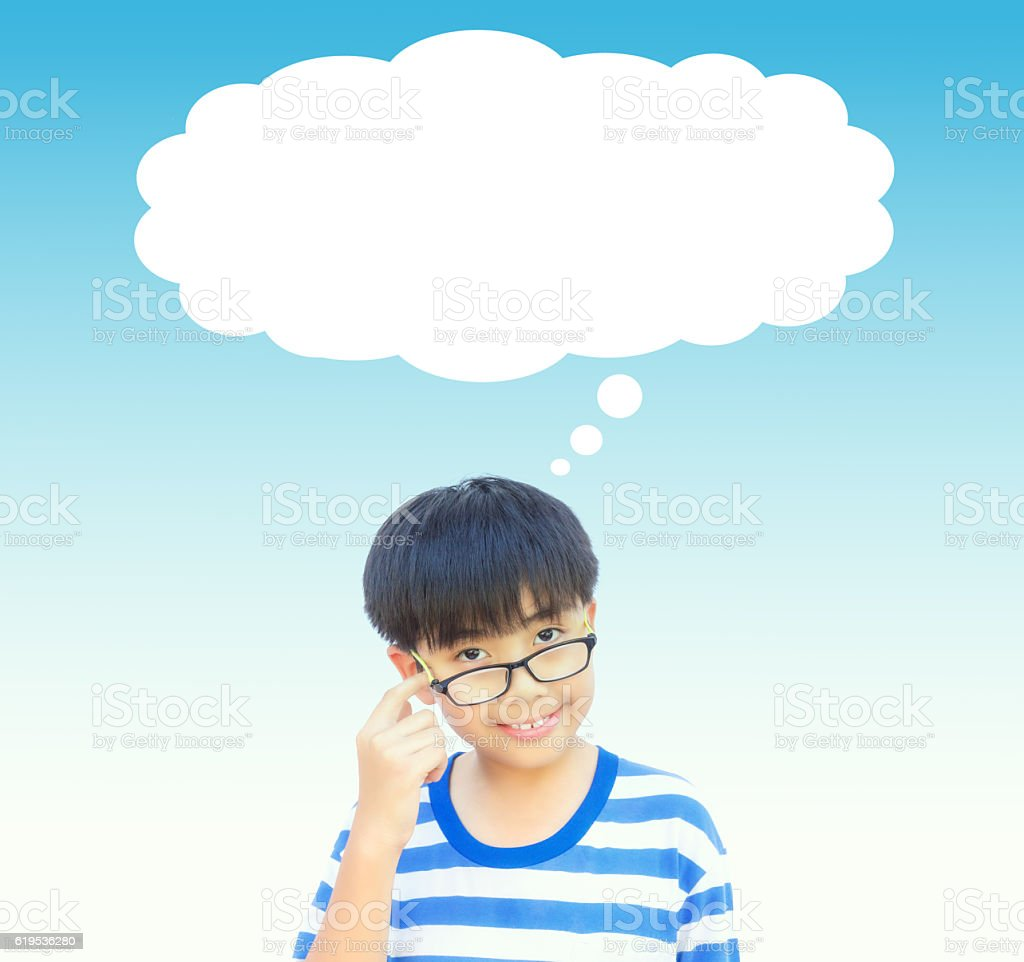 Boy thinking with empty space. (Vintage tone) stock photo