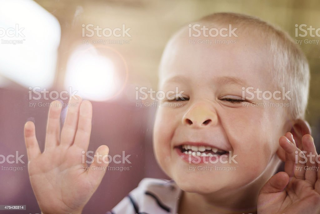 Boy travelling in train stock photo