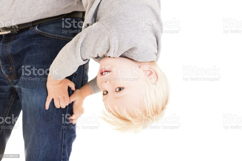 Boy turned upside down royalty-free stock photo