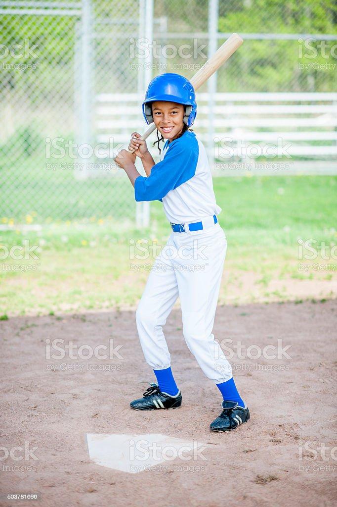 Boy up to Bat stock photo