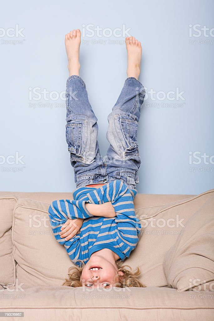 A boy upside down royalty-free stock photo