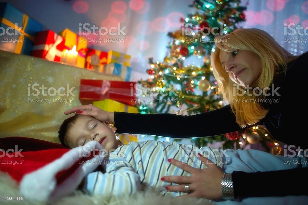 Boy waiting for Santa stock photo