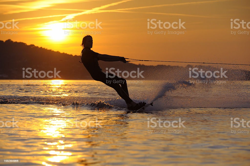 Boy Wakeboarding at French Riviera royalty-free stock photo