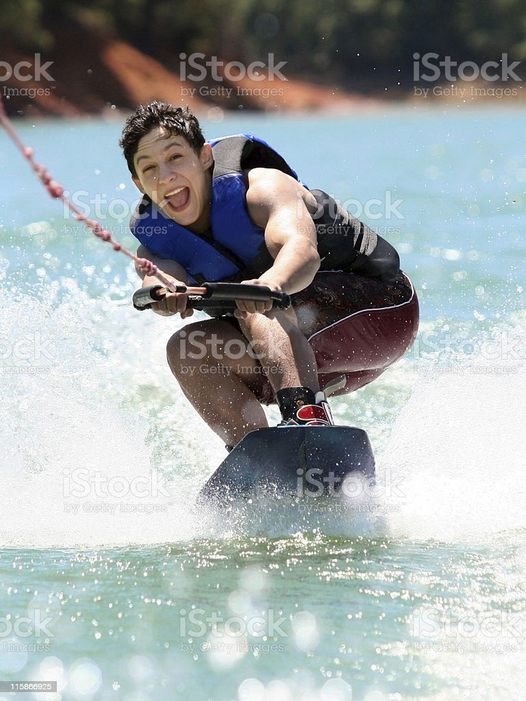 Boy Wakeboarding stock photo