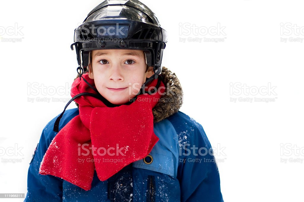 boy wearing a hockey helmet royalty-free stock photo