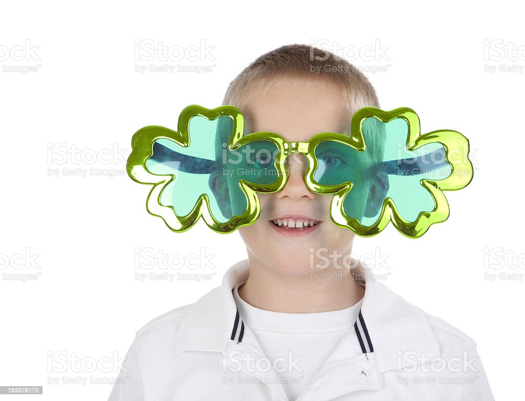Boy Wearing Clover Sunglasses royalty-free stock photo