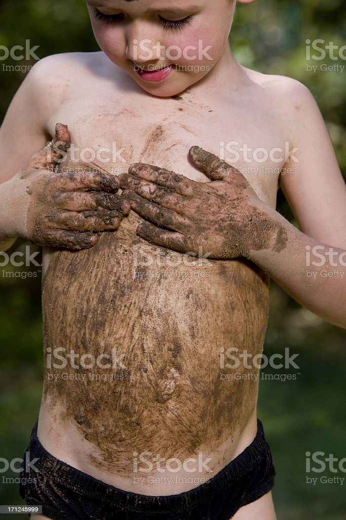 boy wipes the abdomen XXXL royalty-free stock photo