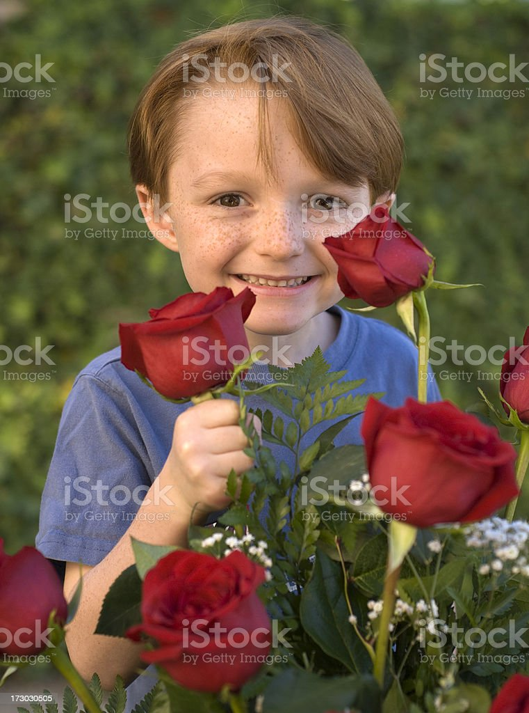 Boy Wishing Mom Happy Mother's Day! stock photo