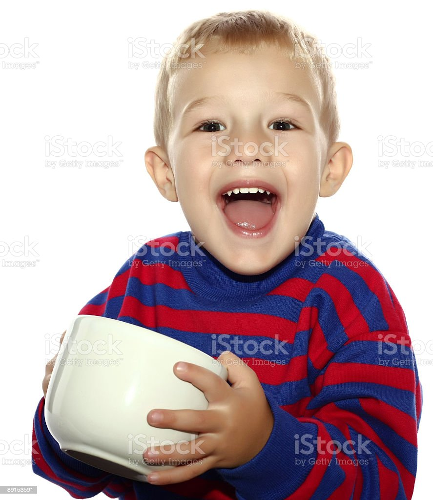 Boy with a big cup of milk royalty-free stock photo