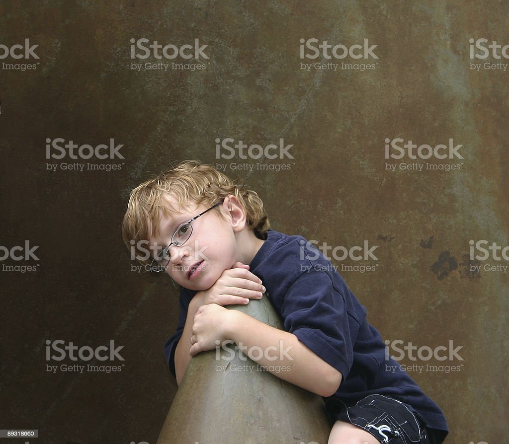 Boy ( 6yr old ) with a  content smile stock photo